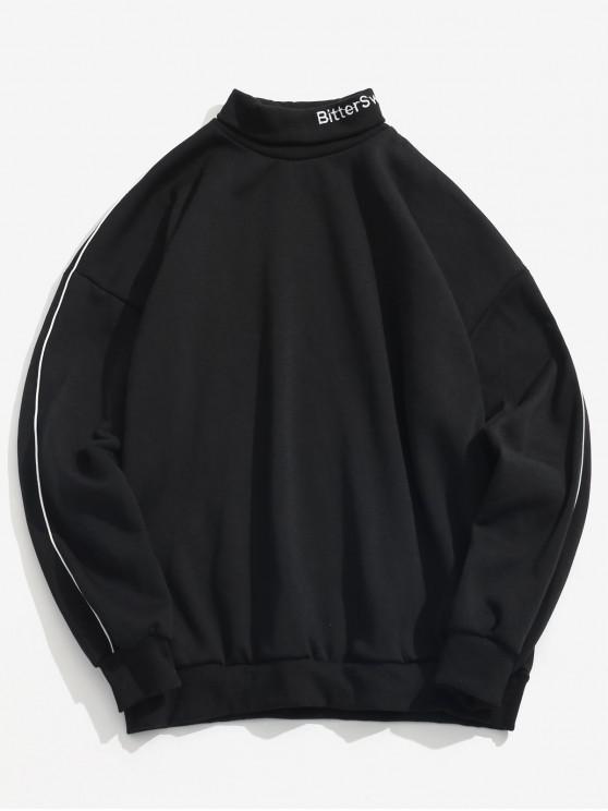 latest Turtleneck Letter Stripe Fleece Sweatshirt - BLACK M