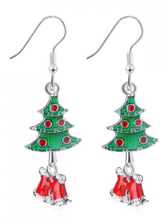 Christmas Bells Rhinestone Design Hook Earrings - Prata
