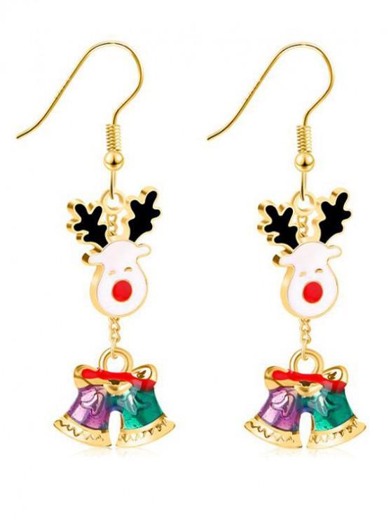 ladies Christmas Jingling Bell Printed Earrings - GOLD
