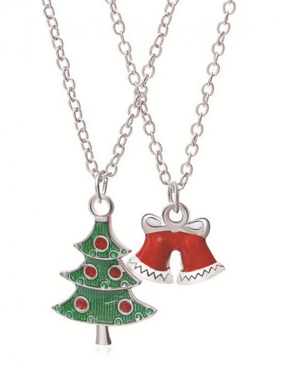 outfits 2Pcs Christmas Bell Pendant Necklaces - SILVER