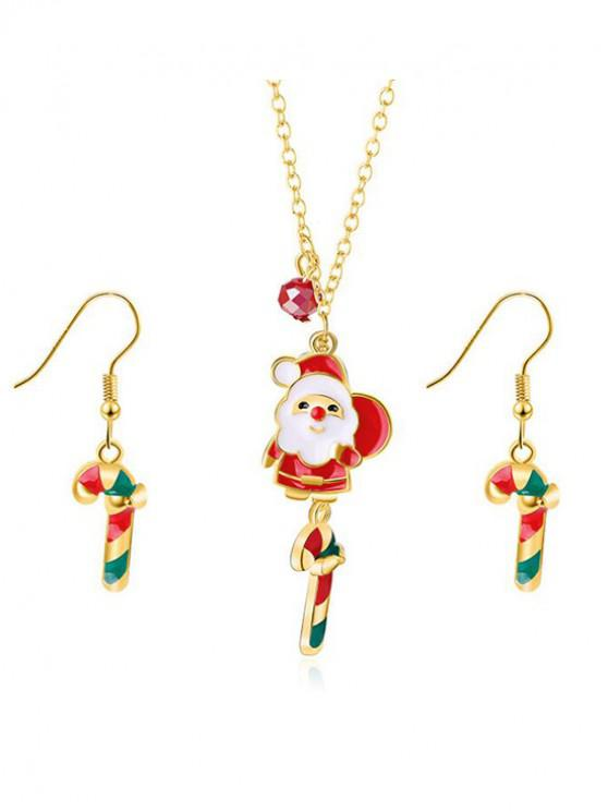 womens Christmas Candy Cane Printed Jewelry Set - GOLD