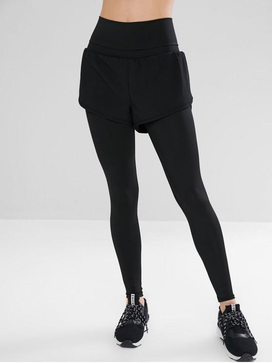Legging Superposées à Taille Haute - Noir L