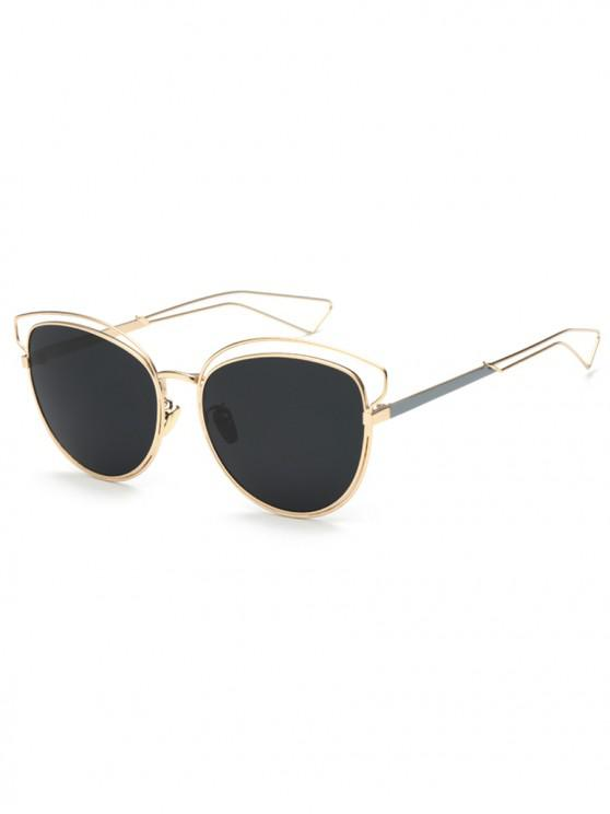 women Hollow Out Frame Novelty Catty Sunglasses - BLACK