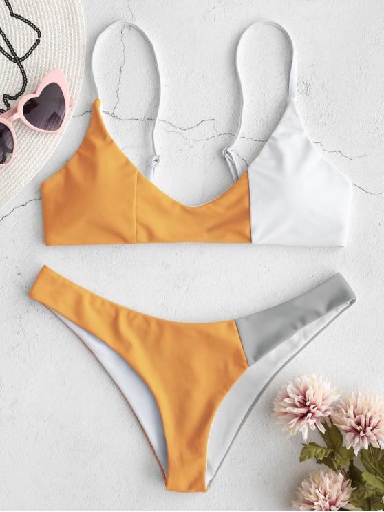 best ZAFUL Color Block Bikini Set - MULTI-B L