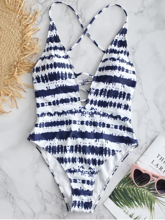 ZAFUL Tie Dye Lace Up traje de baño sin espalda - Azul de Medianoche L