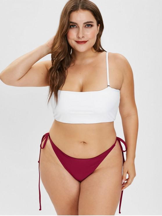 0665023bf66b 28% OFF] 2019 ZAFUL Lace-up Plus Size Bandeau Bikini Set In WHITE ...