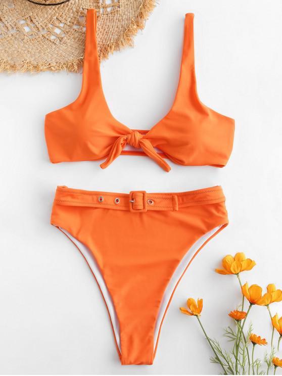 hot ZAFUL Tie Front Buckled Bikini Set - PUMPKIN ORANGE L
