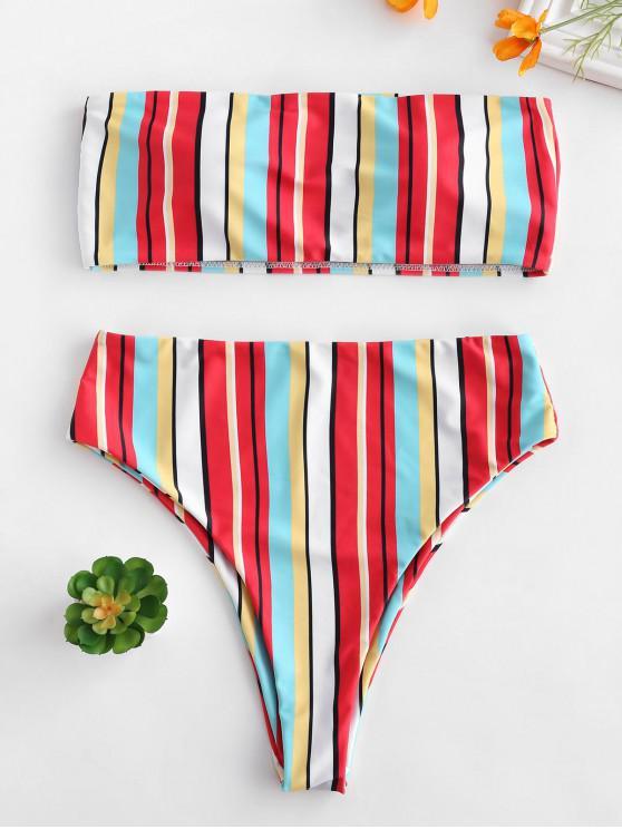 sale ZAFUL High Cut Striped Bandeau Bikini Set - MULTI L