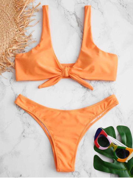 womens Scrunch Butt Knotted Thong Bikini - MANGO ORANGE XL