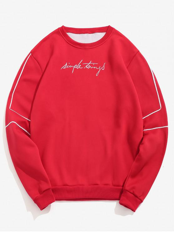 outfit Embroidery Letter Striped Fleece Sweatshirt - RED S