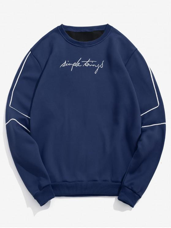 shop Embroidery Letter Striped Fleece Sweatshirt - DEEP BLUE L