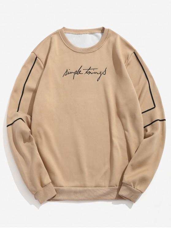hot Embroidery Letter Striped Fleece Sweatshirt - LIGHT KHAKI XL