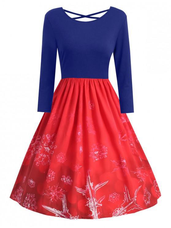 fashion Plus Size Christmas Snowflake Print Criss Cross Dress - BLUE 5X