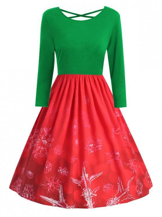 Plus Size Christmas Snowflake Print Criss Cross Dress - Jungle Green 2X