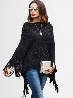 Sequins Fringed Poncho Sweater - Black L