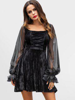 Crisscross Panels Velvet Dress - Black Xl