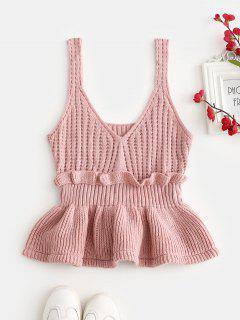 Frilled Openwork Sweater Vest - Pink