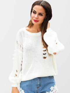 Beaded Ripped Sweater - White Xl