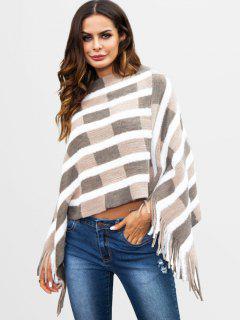 Fluffy Striped Fringed Poncho Sweater - Light Khaki S