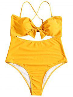 Cut Out Plus Size One Piece Swimsuit - Yellow 4xl