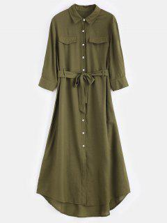 Belt Maxi Shirt Dress - Army Green Xl