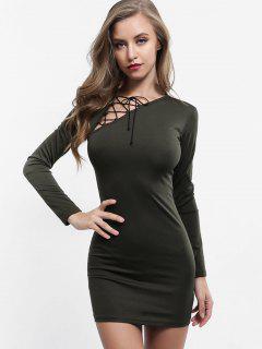 Kleid Mit Schnürung Und Schnürung - Dunkles Waldgrün M