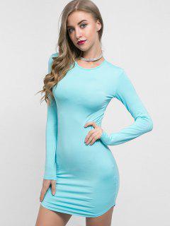 Long Sleeves Plain Bodycon Dress - Celeste S