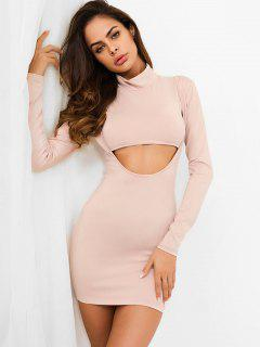 High Neck Cut Out Bodycon Dress - Apricot M