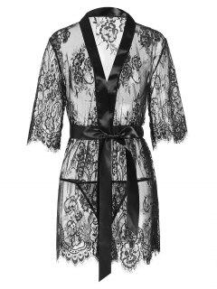 Lace Scalloped Belted Lingerie Robe - Black S