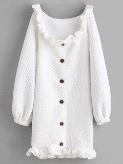 Rizado Acolchado Fuera Del Vestido De Hombro - Blanco M