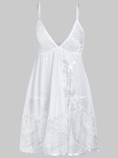 Flower Lace Bowknot Cami Lingerie Dress - White Xl