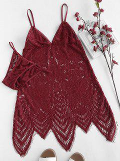 Lace See Thru Slip Babydoll - Red