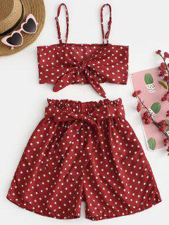 Polka Dots Self Tie Cami Top With Shorts - Red Wine L