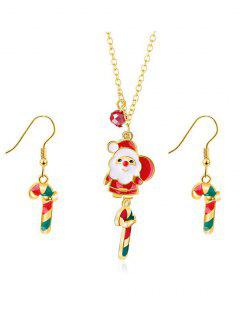 Christmas Candy Cane Printed Jewelry Set - Gold