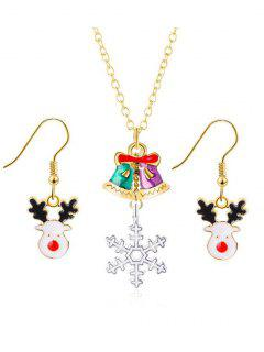 Christmas Bells And Snowflake Pattern Pendant Jewelry Set - Gold