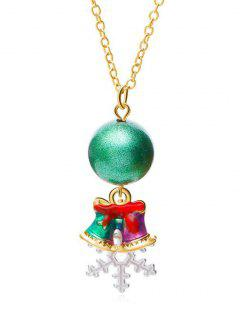 Christmas Snowflake And Jingling Bell Design Necklace - Gold