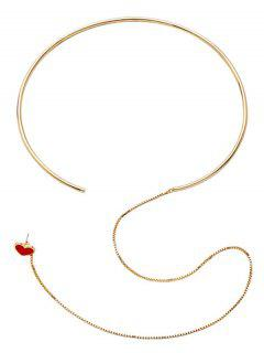 Heart Design Connected Earring Necklace - Red