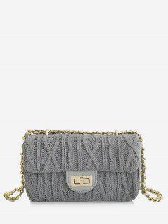 Knitting Hasp Design Link Chain Crossbody Bag - Light Slate Gray