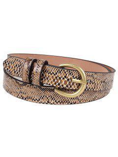 Metal Bucket Snake Pattern Waist Belt - Camel Brown