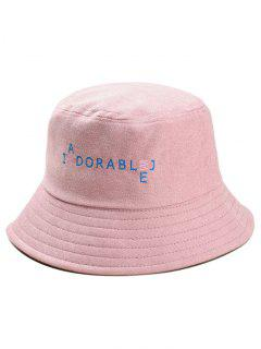 Funny Letters Embroidery Bucket Hat - Pink