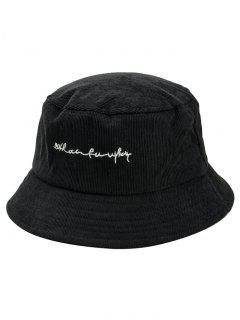 Unique Letter Embroidery Fisherman Hat - Black