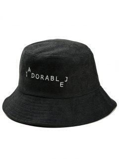 Funny Letters Embroidery Bucket Hat - Black