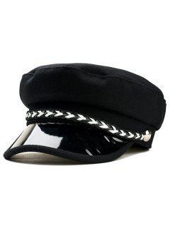 Solid Color Woolen Military Hat - Black