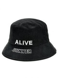 Stylish Letter Embroidery Bucket Sun Hat - Black