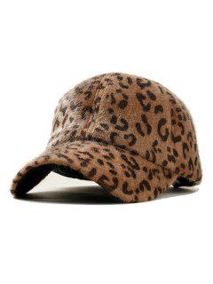 Leopard Print Velvet Graphic Hat - Camel Brown