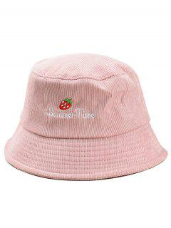 Cute Strawberry Embroidery Fisherman Hat - Pink