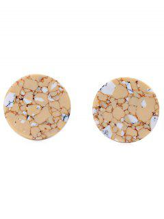 Geometric Artificial Stone Round Shape Earrings - Brown Sugar