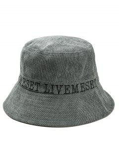 Capital Letter Embroidery Bucket Sun Hat - Gray