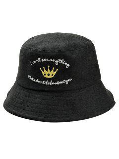 Stylish Crown Embroidery Fisherman Hat - Black