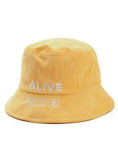 Stylish Letter Embroidery Bucket Sun Hat - Yellow
